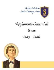 Colegio Salesiano Santo Domingo Savio. Reglamento General de Becas