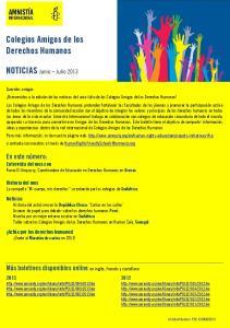 Colegios Amigos de los Derechos Humanos. NOTICIAS Junio Julio 2013