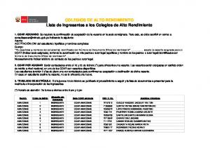 COLEGIOS DE ALTO RENDIMIENTO Lista de Ingresantes a los Colegios de Alto Rendimiento