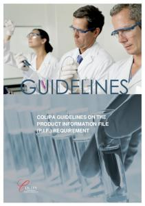 COLIPA GUIDELINES ON THE PRODUCT INFORMATION FILE (P.I.F.) REQUIREMENT