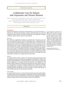 Collaborative Care for Patients with Depression and Chronic Illnesses