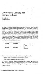 Collaborative Learning and Learning to Learn