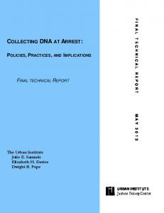 COLLECTING DNA AT ARREST: