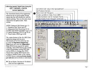 Collecting Spatial Model Data Using the GET-MODEL-DATA ArcView Application