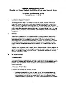 Collection Development Policy (Revised February 15, 2012)