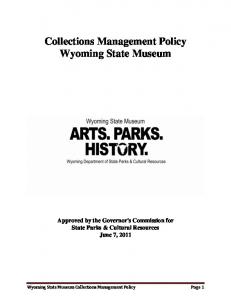 Collections Management Policy Wyoming State Museum