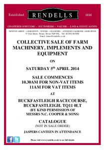 COLLECTIVE SALE OF FARM MACHINERY, IMPLEMENTS AND EQUIPMENT