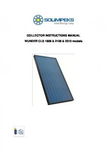 COLLECTOR INSTRUCTIONS MANUAL. WUNDER CLS 1808 & 2108 & 2510 models