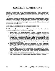 COLLEGE ADMISSIONS GENERAL ADMISSIONS REQUIREMENTS