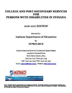 COLLEGE AND POST-SECONDARY SERVICES FOR PERSONS WITH DISABILITIES IN INDIANA EDITION