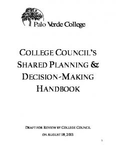 COLLEGE COUNCIL S SHARED PLANNING & DECISION-MAKING HANDBOOK