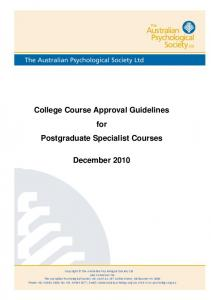 College Course Approval Guidelines for Postgraduate Specialist Courses December 2010