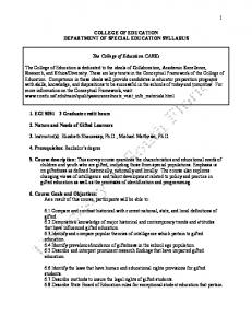 COLLEGE OF EDUCATION DEPARTMENT OF SPECIAL EDUCATION SYLLABUS. The College of Education CAREs