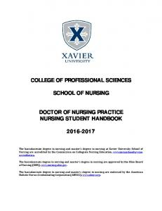 COLLEGE OF PROFESSIONAL SCIENCES SCHOOL OF NURSING DOCTOR OF NURSING PRACTICE NURSING STUDENT HANDBOOK