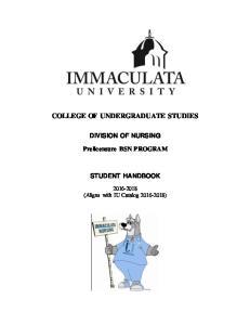 COLLEGE OF UNDERGRADUATE STUDIES