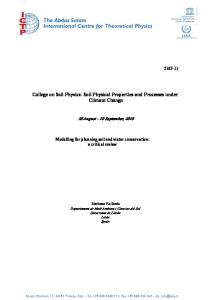 College on Soil Physics: Soil Physical Properties and Processes under Climate Change