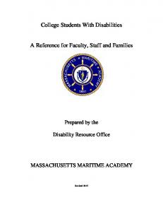 College Students With Disabilities. A Reference for Faculty, Staff and Families