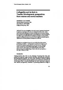Collegiality and its Role in Teacher Development: perspectives from veteran and novice teachers