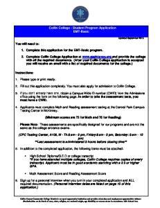 Collin College - Student Program Application EMT-Basic