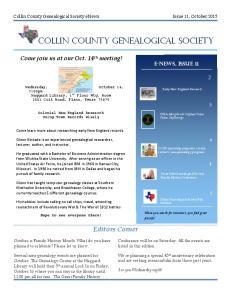 COLLIN COUNTY GENEALOGICAL SOCIETY
