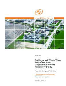 Collingwood Waste Water Treatment Plant Cogeneration Plant Feasibility Study DRAFT REPORT. Conestoga-Rovers & Associates