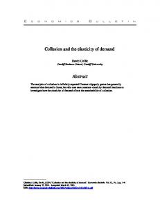 Collusion and the elasticity of demand. Abstract