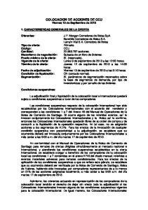 COLOCACION DE ACCIONES DE CCU Viernes 13 de Septiembre de 2013