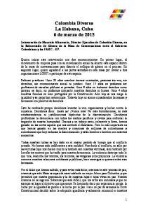 Colombia Diversa La Habana, Cuba 6 de marzo de 2015
