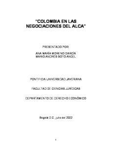 COLOMBIA EN LAS NEGOCIACIONES DEL ALCA