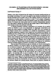 COLOMBIA: SU TRANSFORMACIÓN SOCIOECONÓMICA REFLEXIONES PARA UN FUTURO MEJOR