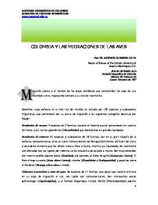 COLOMBIA Y LAS MIGRACIONES DE LAS AVES