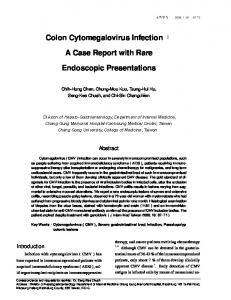 Colon Cytomegalovirus Infection. A Case Report with Rare. Endoscopic Presentations