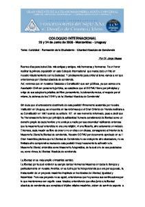 COLOQUIO INTERNACIONAL 23 y 24 de Junio de Montevideo - Uruguay