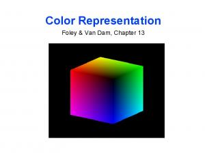 Color Representation. Foley & Van Dam, Chapter 13