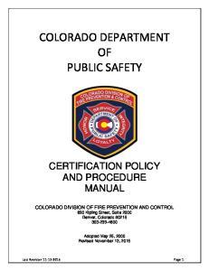 COLORADO DEPARTMENT OF PUBLIC SAFETY