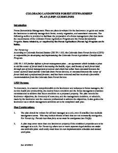 COLORADO LANDOWNER FOREST STEWARDSHIP PLAN (LFSP) GUIDELINES