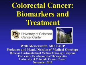 Colorectal Cancer: Biomarkers and Treatment