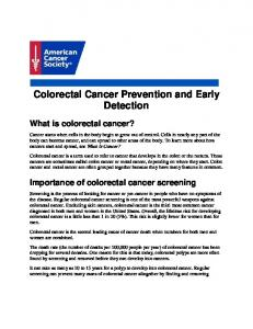 Colorectal Cancer Prevention and Early Detection