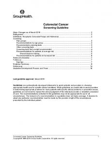 Colorectal Cancer Screening Guideline