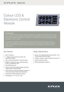 Colour LCD & Electronic Control Module
