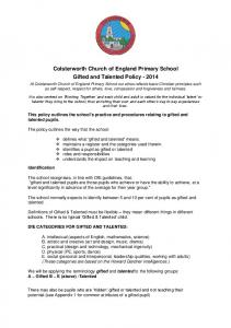 Colsterworth Church of England Primary School Gifted and Talented Policy