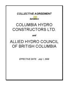 COLUMBIA HYDRO CONSTRUCTORS LTD. ALLIED HYDRO COUNCIL OF BRITISH COLUMBIA