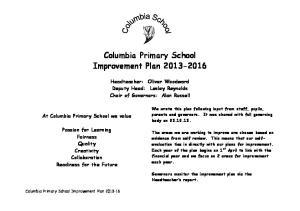 Columbia Primary School Improvement Plan