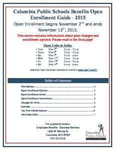 Columbia Public Schools Benefits Open Enrollment Guide