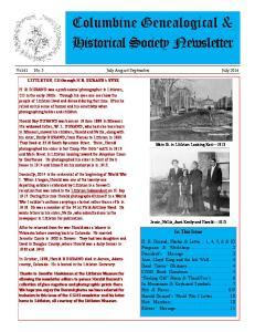 Columbine Genealogical & Historical Society Newsletter
