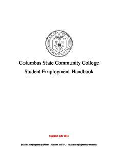 Columbus State Community College Student Employment Handbook