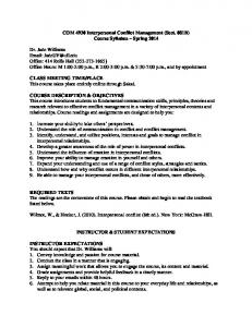 COM 4930 Interpersonal Conflict Management (Sect. 081B) Course Syllabus ~ Spring 2014