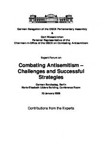 Combating Antisemitism Challenges and Successful Strategies