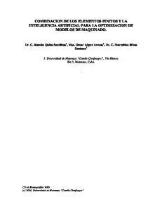 COMBINACION DE LOS ELEMENTOS FINITOS Y LA INTELIGENCIA ARTIFICIAL PARA LA OPTIMIZACION DE MODELOS DE MAQUINADO