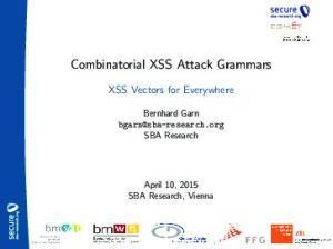 Combinatorial XSS Attack Grammars